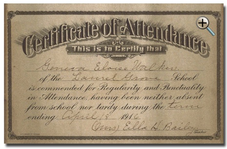 Certificate of Attendance- Geneva Walker, granddaughter of William Jasper and Georgianna Jasper. After Laurel Grove School, she and her sister Winnie Walker attended middle school and high school in Washington DC. They both received BA degrees in Early Childhood Education from Virginia State College, Petersburg, VA. Geneva and Winnie taught in Fairfax County elementary schools for over 40 years.
