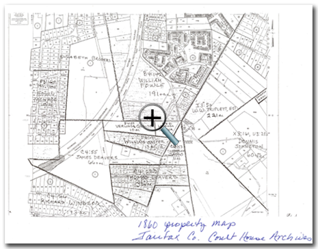 1860 Property Map: 66 African Americans owned property in Fairfax County in 1860. In Franconia, William Jasper 13 acres; Thornton Gray 5 acres, Laurinda Jasper 10 acres and Verlinda Quander 4 acres.